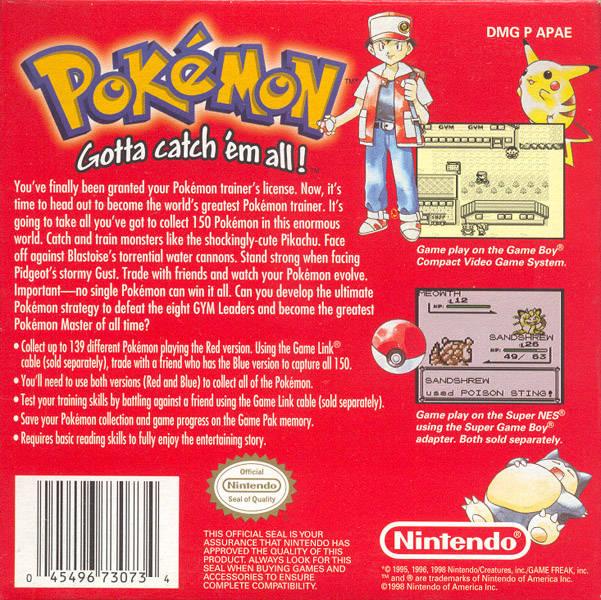 Pokemon Red Amp Blue Game View Single Trivia Vgfacts